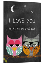 Akrylglastavla  Owls - I love you to the moon and back - GreenNest