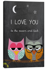 Canvastavla  Owls - I love you to the moon and back - GreenNest