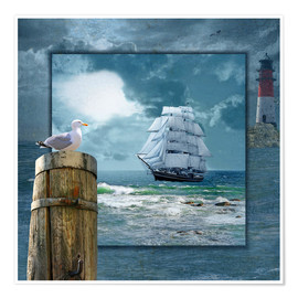 Premiumposter Collage With Sailing Ship