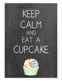Premiumposter Keep calm and eat a cupcake on chalkboard