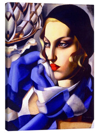 Canvastavla  The blue scarf - Tamara de Lempicka