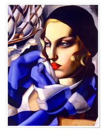 Premiumposter  The blue scarf - Tamara de Lempicka