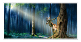 Premiumposter  The Deer In The Mystical Forest - Monika Jüngling