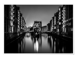 Premiumposter  Hamburg HafenCity quarter by night (monochrome) - Sascha Kilmer