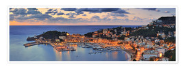 Premiumposter Port Soller Mallorca at night