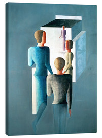 Canvastavla  Four figures and cube - Oskar Schlemmer