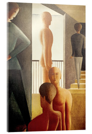 Akrylglastavla  Five men in the room - Oskar Schlemmer