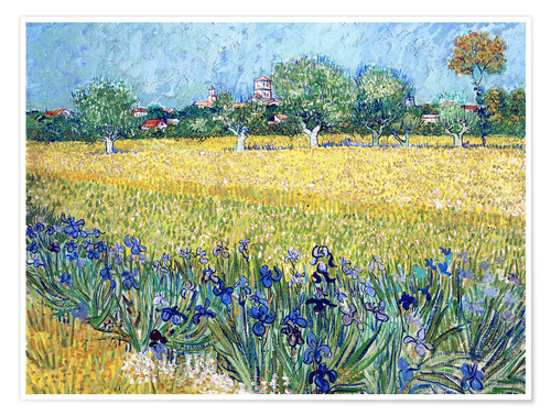 Premiumposter View of Arles with irises in the foreground