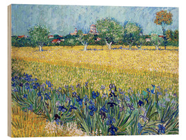 Trätavla  View of Arles with irises in the foreground - Vincent van Gogh