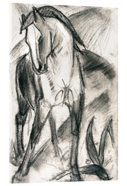 Akrylglastavla  Young Horse in Mountain Landscape - Franz Marc