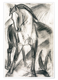 Premiumposter  Young Horse in Mountain Landscape - Franz Marc