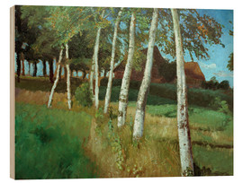 Trätavla  Birches in the marsh - Otto Modersohn