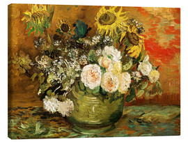 Canvastavla  Roses and sunflowers - Vincent van Gogh