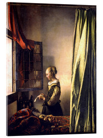 Akrylglastavla  Girl reading a letter at an open window - Jan Vermeer