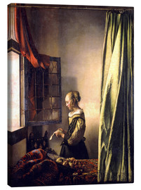 Canvastavla  Girl reading a letter at an open window - Jan Vermeer