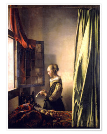 Poster Girl reading a letter at an open window