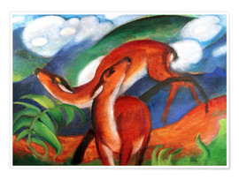 Premiumposter  Red deer II - Franz Marc