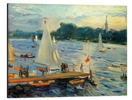 Aluminiumtavla  Sailboats on the Alster Lake in the evening - Max Slevogt