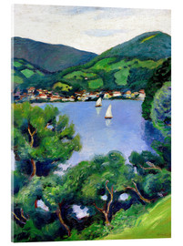 Akrylglastavla  View of Tegernsee lake - August Macke