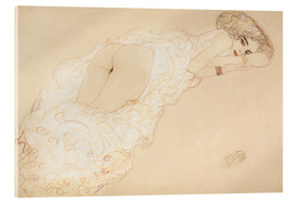 Akrylglastavla  Reclining Nude Lying on Her Stomach and Facing Right - Gustav Klimt