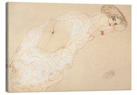 Canvastavla  Reclining Nude Lying on Her Stomach and Facing Right - Gustav Klimt