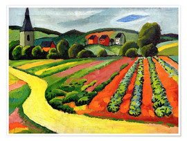 Premiumposter  Landscape with Church and path - August Macke