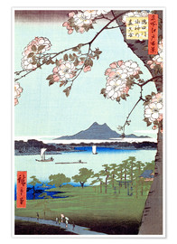Premiumposter  Masaki and the Suijin Grove by the Sumida River - Utagawa Hiroshige