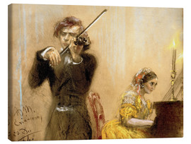 Canvastavla  Clara Schumann and Joseph Joachim playing music - Adolph von Menzel