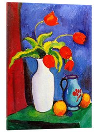 Akrylglastavla  Red tulips in white vase - August Macke