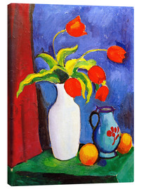 Canvastavla  Red tulips in white vase - August Macke