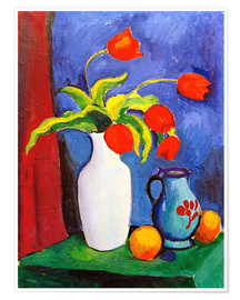 Premiumposter  Red tulips in white vase - August Macke