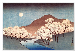 Premiumposter River landscape with rising moon