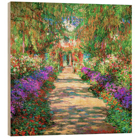 Trätavla  A pathway in Monet's Garden at Giverny - Claude Monet