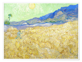 Premiumposter  Wheat Field with Reaper at sunrise - Vincent van Gogh