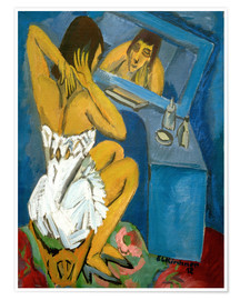 Premiumposter Toilet; Woman in front of the mirror
