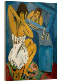 Trätavla  Toilet, Woman in front of the mirror - Ernst Ludwig Kirchner