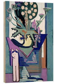 Trätavla  Meadow Flower with cat - Ernst Ludwig Kirchner