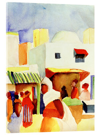 Akrylglastavla  Market in Tunis I - August Macke