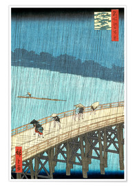 Premiumposter Sudden Shower Over Shin-Ohashi Bridge and Atake