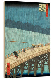 Trätavla  Sudden Shower Over Shin-Ohashi Bridge and Atake - Utagawa Hiroshige