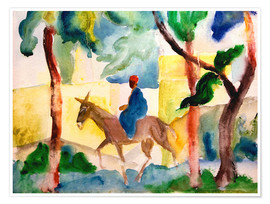 Premiumposter  Man Riding on a Donkey - August Macke