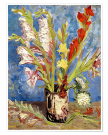 Premiumposter Vase with gladioli and China asters