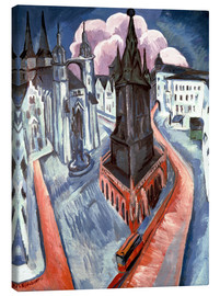 Canvastavla  The Red Tower in Halle - Ernst Ludwig Kirchner