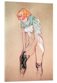 Akrylglastavla  Woman Pulling up her Stocking - Henri de Toulouse-Lautrec
