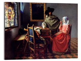 Akrylglastavla  Lord and lady at the wine - Jan Vermeer