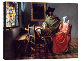 Canvastavla  Lord and lady at the wine - Jan Vermeer