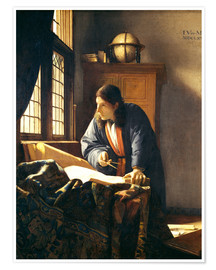 Premiumposter  A geographer or astronomer in his study - Jan Vermeer