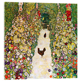 Akrylglastavla  Garden Path with Chickens - Gustav Klimt