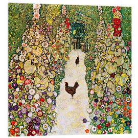 PVC-tavla  Garden Path with Chickens - Gustav Klimt
