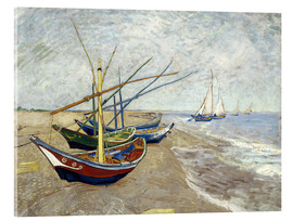 Akrylglastavla  Fishing Boats on the Beach at Saintes-Maries - Vincent van Gogh